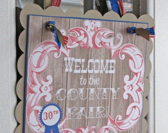 Blue Ribbon Bash Collection: Square Scallop Door Sign. Party Sign. Door Sign. Welcome Sign. Birthday Sign. Fair.