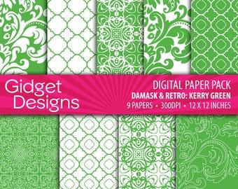 St Patrick's Day Printable Digital Paper Pack - Kerry Green INSTANT DOWNLOAD Quatrefoil Damask