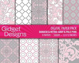 Pink and Gray Digital Paper Pack Damask Quatrefoil Patterns