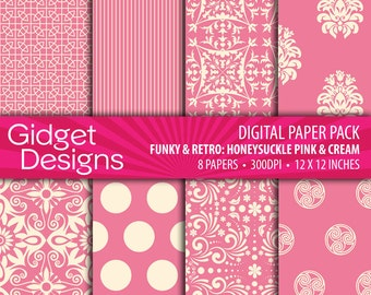 Pink Digital Paper Pack Scrapbook Paper Pink and White Patterned Paper Printable Paper