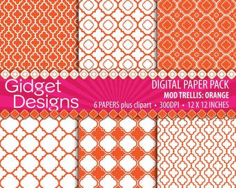 Orange Digital Paper Pack Quatrefoil Clip Art Free for Commercial Use Scrapbook Paper Printable Digital Paper