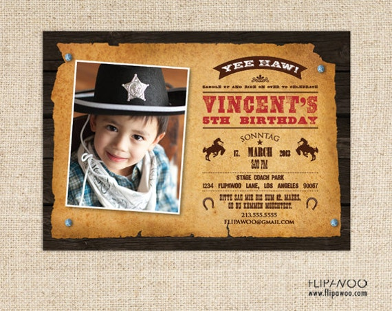 Western Cowboy Birthday Photo Invitation, Cowboy Party Invitation - Customized Printable File
