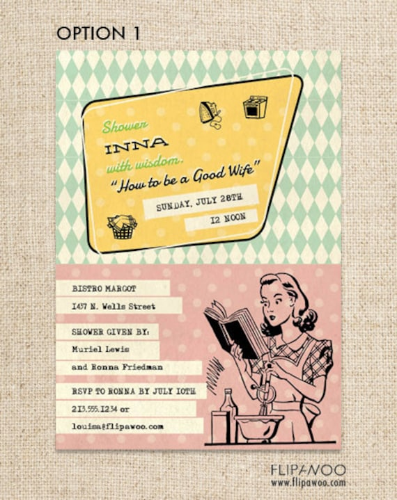 Retro Housewife Shower Invitation by FLIPAWOO  - Customized Printable File