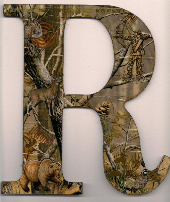 9 5 wooden letter r camoflauge wall decor for Camo mural wall