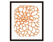 Modern Dahlia Flower No. 1 Digital Print Tangerine Orange Nectarine - Wall Art  - Home Decor - Spring Summer - Under 20 - AldariArt