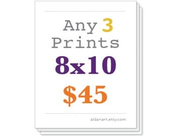 Any Three 8x10 Prints, Set of three, Package Deal, Discounted Price