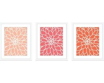 Dahlia Flower Art Prints - Modern Flower Wall Art - Coral Peach Home Decor - Flower Poster - Set Of Three - Aldari Art