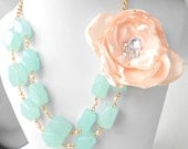 Reserved for Angie, Peach Flower and Seafoam Double Strand Necklace