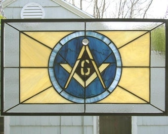 "Masonic Symbol, 11"" x 19"" Stained Glass Window Panel"