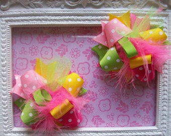 Girls Hair Bows ---Mini Funky Fun Over the Top Bows--Bright Spring colors---Pink, Lime, Yellow---Set of 2