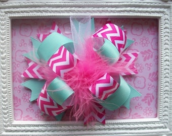 Hair Bow---FULL Size Funky Fun Over the Top Bow----Aqua and Pink Chevron