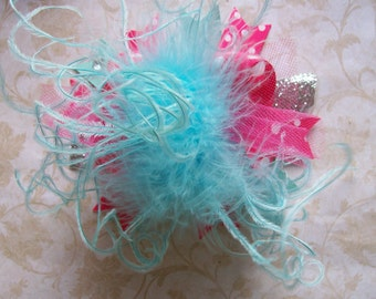 Over the Top Hair Bow with Ostrich Puff Center---Hot Pink and Aqua