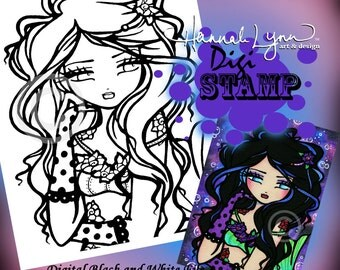 PRINTABLE Digi Stamp Tattoo Rose Mermaid Coloring Page Fun Fantasy Art Hannah Lynn