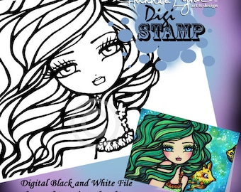 PRINTABLE Digi Stamp Hillary Fish Mermaid Coloring Page Fun Fantasy Art Hannah Lynn