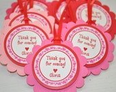 12 Valentine Favor Tags - Valentine's Day Birthday Party - February Birthday - Heart Birthday Decorations - sosweetpartyshop