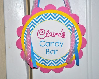 Girls Birthday Door Sign - Chevron Birthday Decorations with Polkadots - Teal, Pink, Yellow