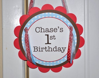 Boys Birthday Party Door Sign - Red, Brown and Blue, Polkadots - Personalized Birthday Decorations