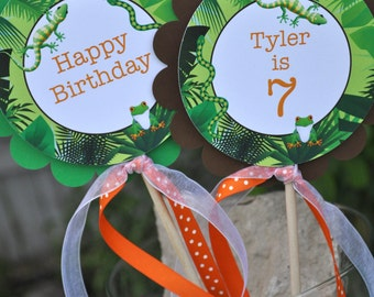 Reptile Birthday Centerpiece Sticks - Safari, Jungle, Bugs, Insects Birthday Decorations - Orange, Green and Brown - Set of 3