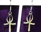 SWINGING Ankh or Egyptian CROSS Earrings in  STERLING Silver