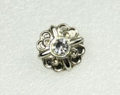 Wholesale - Gorgeous Twinkle Crystal Elaborate Silver Flower Buttons. 50 in a set, 0.71 inch.