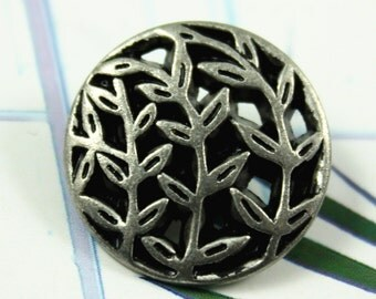Metal Buttons - Leaf Vines Metal Buttons , Gunmetal Gray Color , Openwork , Shank , 0.79 inch , 10 pcs