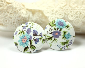Fabric Buttons - Fresh Morning Glory Flowers White Fabric Buttons,1.18 inch.  (6 in a set)