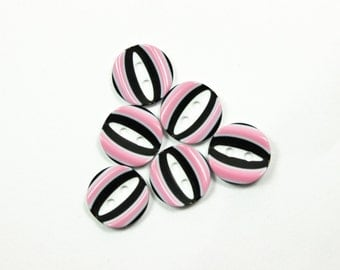 10 Pieces of  Pink Oval Stripes Groove Center Plasitc Buttons. 0.51 inch