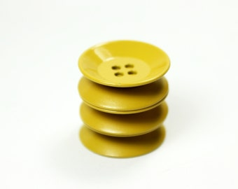 Metal Buttons - Khaki Yellow Metal Buttons , Folded Edge , 4 Holes , 0.91 inch , 10 pcs