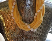 Yellow T-Shirt and bead necklace FREE US shipping