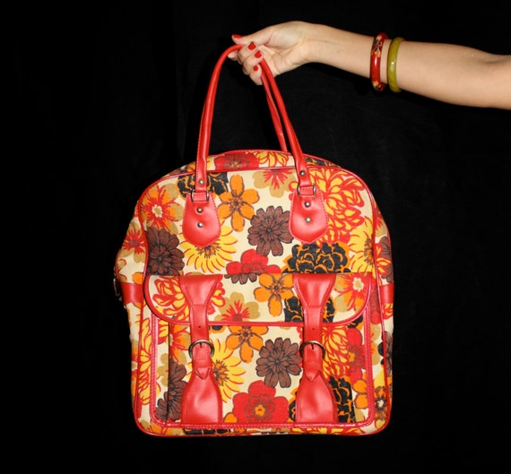 Vintage Carry On Bag - 1960s Floral Red & Yellow Travel Over Night Bag / Large Purse