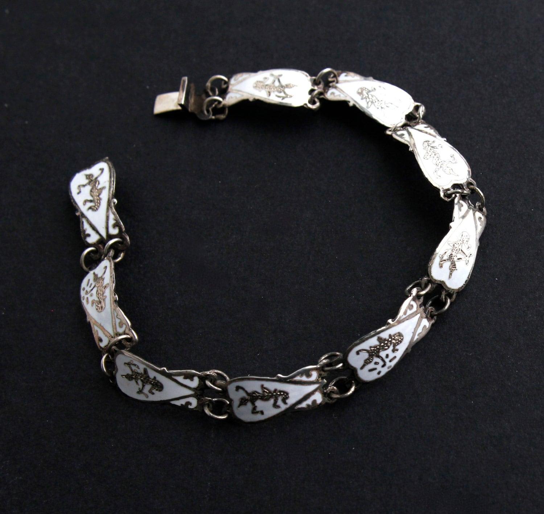 vintage sterling silver siam bracelet white enamel signed