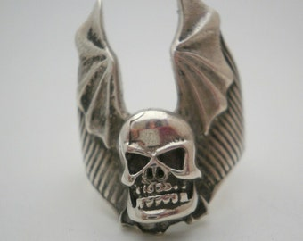 Sterling Silver Ring Winged  Skull