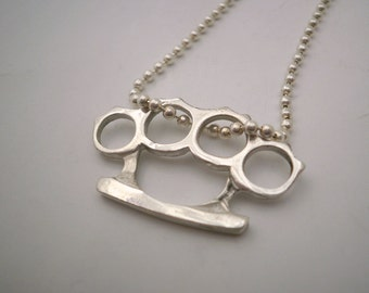 Sterling Silver Brass Knuckles Pendant