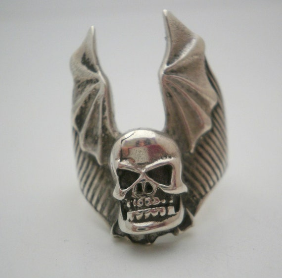 Sterling Silver Ring Winged  Skull