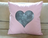 Big Silver Heart Pillow Cover -  Baby Pink Cotton Canvas Pillow Cover - 16x16 Decorative Cushion