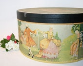 Ladies Hat Box,  Vintage 1920s Antique Victorian Edwardian French Art Nouveau