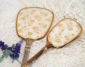 SALE - Vintage Brush and Mirror Vanity Set in Gold