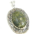 Silver Pendant, African Opal Pendant, Large Gemstone, Pendant Necklace, Fine Silver Jewelry
