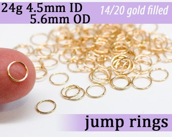 24g 4.5mm ID 5.6mm OD gold filled jump rings -- goldfill jumprings 14k goldfilled jewelry supplies findings