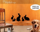 Wall Decals - Family of 5 Bunny Rabbit Silhouettes