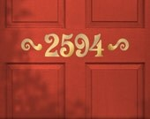 Custom Door House Number Stickers, Removable Vinyl Wall Decal, Victorian Style Lettering with Accents