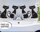 Animal Vinyl Wall Cat Decal, Set of 4 Black Cats with Curly Tails