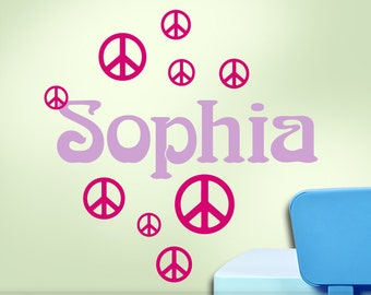 Personalized Hippie Vinyl Decal Custom Name - Peace Sign Wall Decor - Hippie Decor Wall Decal - Custom Name Wall Art  (0174d1v)