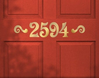 Custom Door House Number Stickers, Removable Vinyl Wall Decal, Victorian Style Lettering with Accents (0171b15v-r5)
