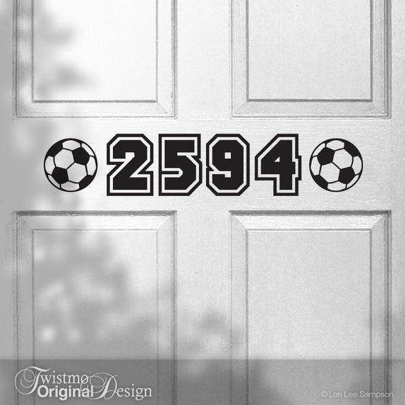 Front Door Decoration - Soccer Unique House Numbers Vinyl Decal - Sports Address Numbers, Vinyl Decal Address Sign, Sports Decor (00166)