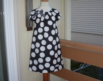 Black & White Polka Dot Peasant Dress, Size 18 Months-2, 3-4, 5-6, 7-8, and 9-10