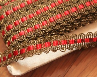 Antique Metallic Lace Trim Red Silk Thread Insert