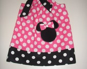 Minnie pink polka dots pillowcase dress with applique  sizes 5, 6