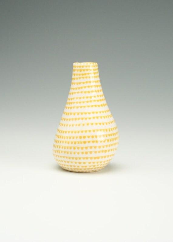 In Stock - Spiral Vertigo Sunflower Yellow Vase Hand Painted Organic Shape Dijon Mustard