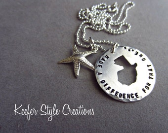 Hand Stamped Guatemala adoption/missions Starfish Necklace